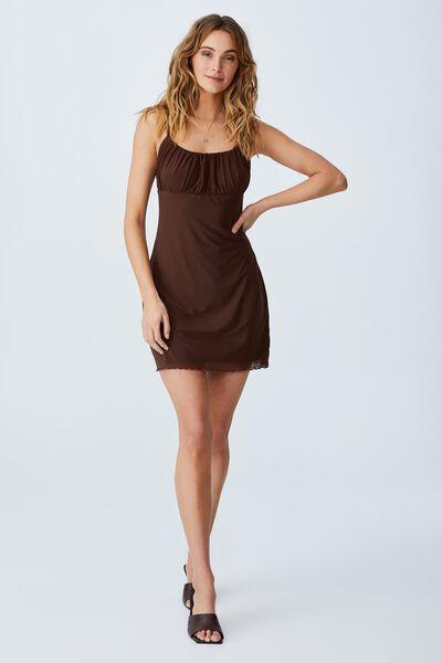 Miller Strappy Mesh Mini Dress, RICH CHOCOLATE
