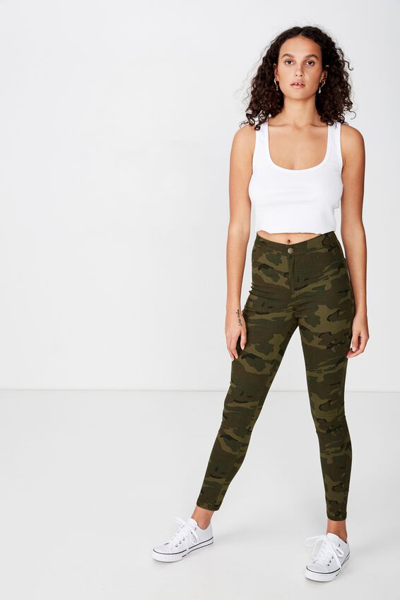 High Rise Jegging, WASHED CAMO