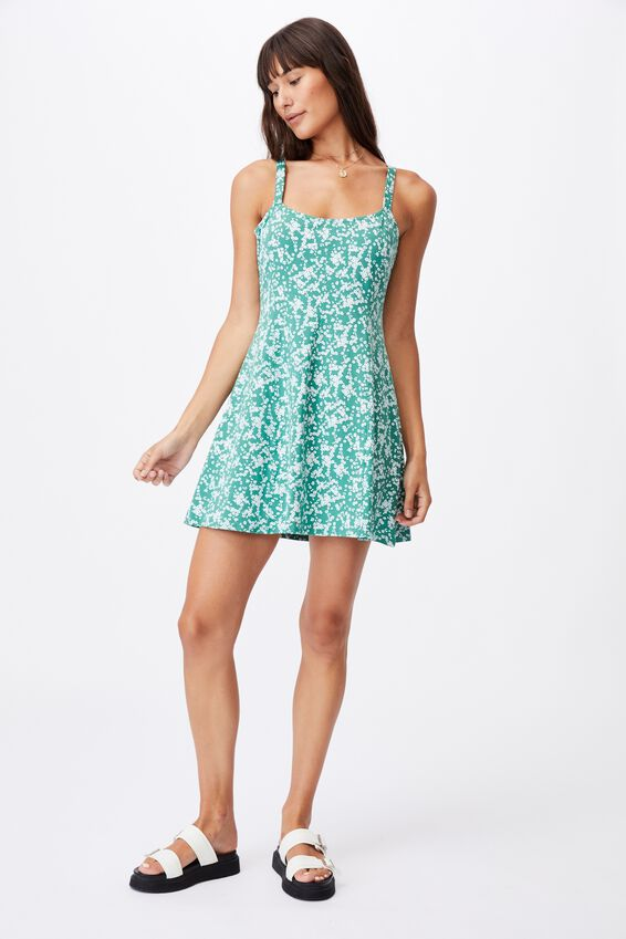 Turner Strappy Mini Dress, LENA DITSY HERITAGE GREEN