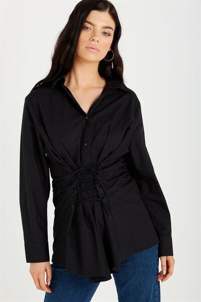 Corset Shirt, BLACK