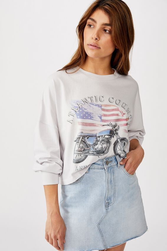 Tbar Brianna Graphic Long Sleeve, ATLANTIC COUNTY/VAPOROUS GREY