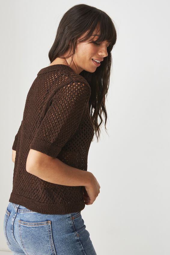 Open Knit Polo, COFFEE BEAN