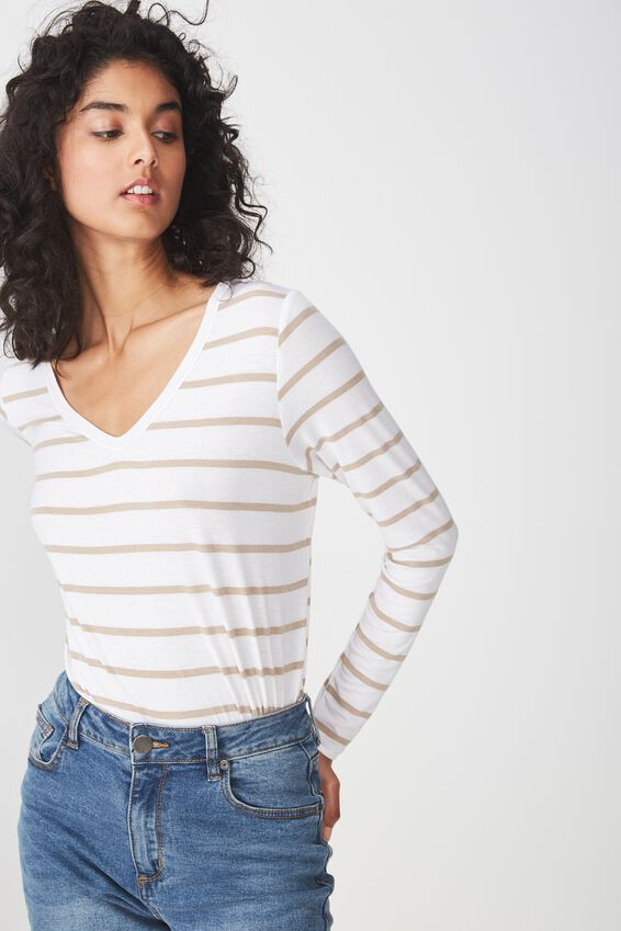 Karly Long Sleeve Top, MIRI STRIPE WHITE/LATTE MARLE