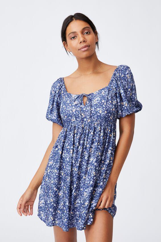 Woven Patty Open Back Tea Dress, LIBBY DITSY COASTAL BLUE MINI