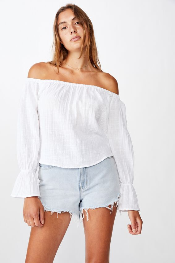 Coco Off The Shoulder Blouse, WHITE