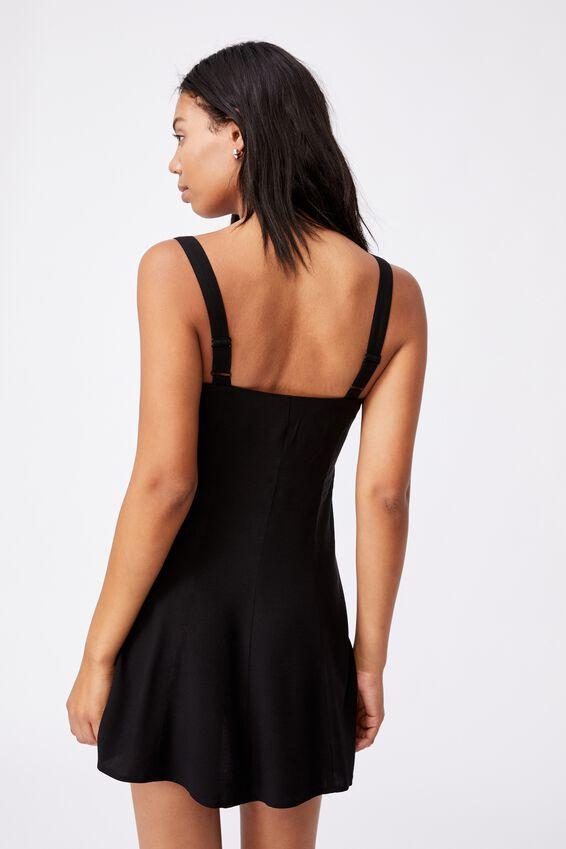 Woven Blair Button Through Strappy Mini Dress, BLACK