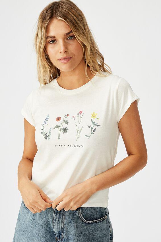 Essential Art T Shirt, NO RAIN NO FLOWERS/GARDENIA