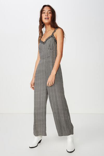 Woven Tash Strappy Jumpsuit, ISSY CHECK BLACK