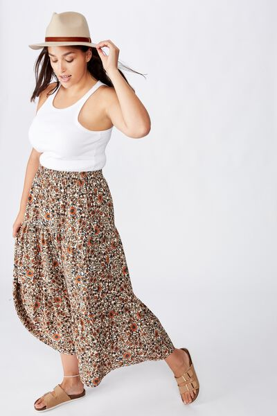 Curve Jasmine Maxi Skirt, JORDYN FLORAL MID BROWN