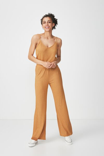 Alice Wide Leg Drapey Pant, HONEY BROWN CRINKLE