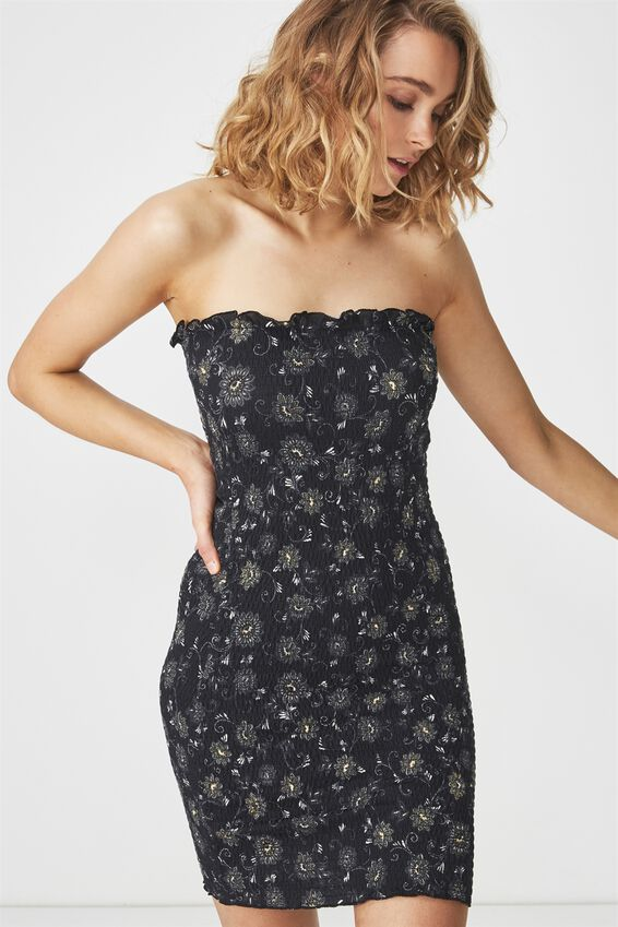 Shelby Shirred Boob Tube Dress, JULES BLACK