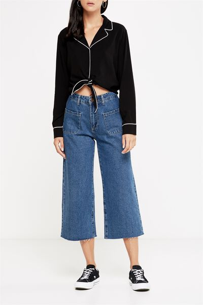 Mid Rise Wide Leg Crop Jean, CARPENTER POCKET DARK BLUE