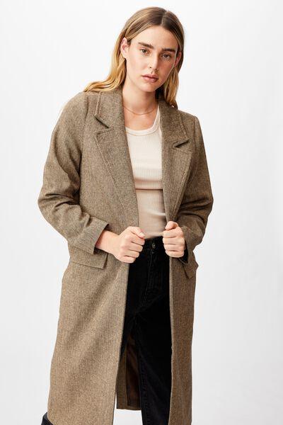 The Oversized Coat, HERITAGE BROWN TWEED