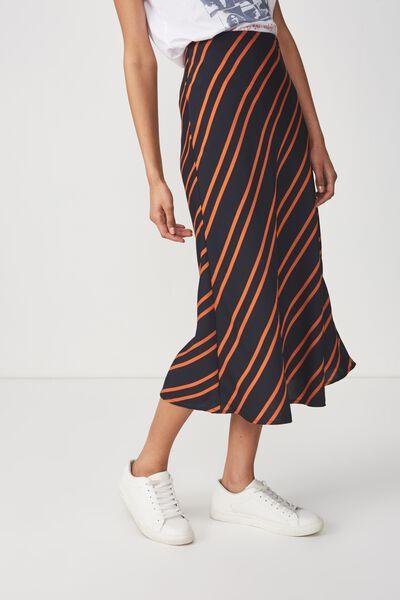 Woven Belle Bias Midi Skirt, SALMA STRIPE DARK SAPPHIRE