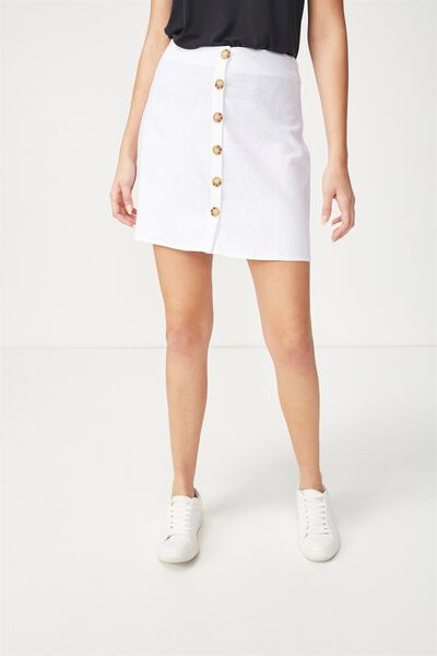 Woven Medina Mini Skirt, WHITE