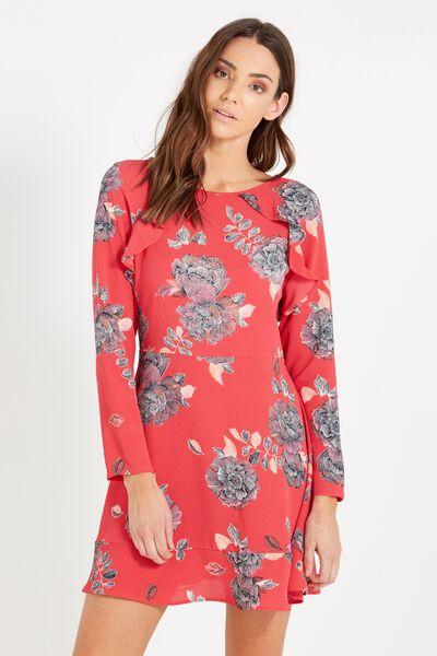 Woven Freddie Frill Dress, JENNY FLORAL STRAWBERRY