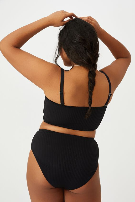 Curve Bandeau Bikini Top, BLACK RIB TEXTURE