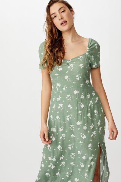 Woven Faye Split Midi Dress, LUCY FLORAL GREEN BAY