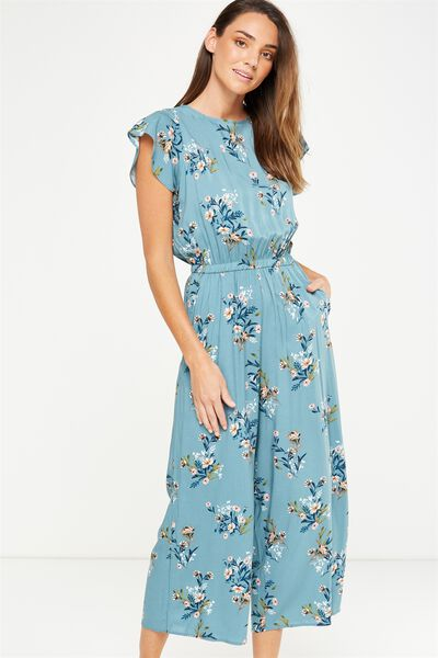 Woven Shay Flutter Sleeve Jumpsuit, HOLLY FLORAL SMOKE BLUE