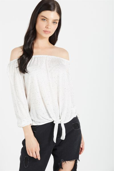 Avery Off The Shoulder Top, MILK NEP