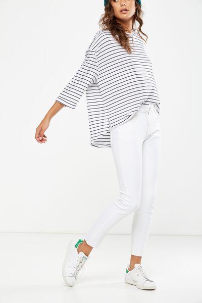 Mid Rise Grazer Skinny Jean, WHITE WORN