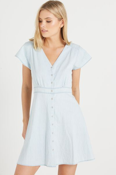 Woven Bianca Short Sleeve Tea Dress, CHAMBRAY