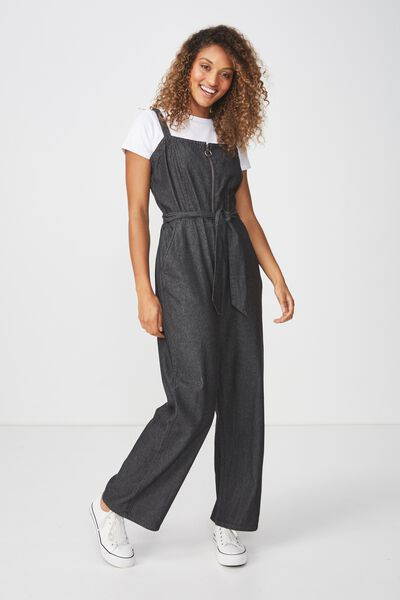 Woven Coco Strappy Zip Jumpsuit, BLACK