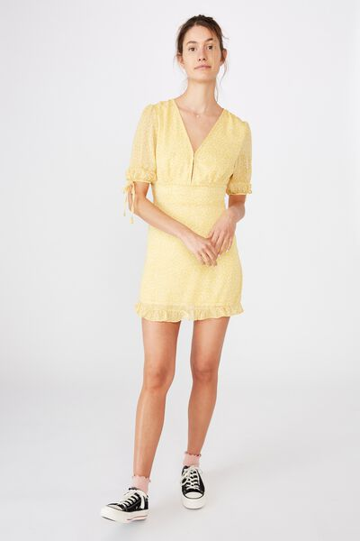 Woven Sandra 3/4 Mini Dress, INGRID DITSY BAMBOO