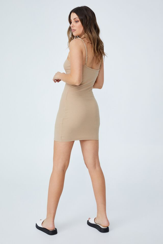Finn Straight Neck Strappy Mini Dress, LINEN TAUPE