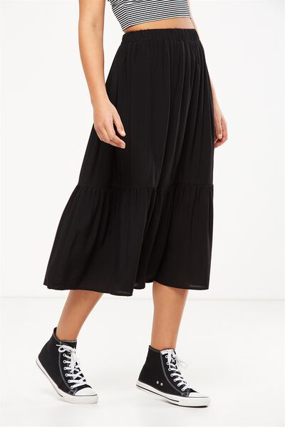 Woven Cherry Midi Skirt, BLACK