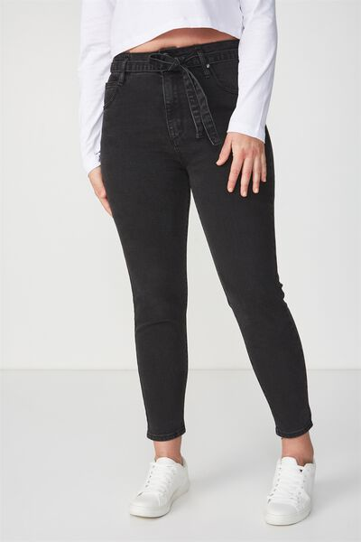 High Rise Grazer Skinny Jean, WASHED BLACK WAIST TIE