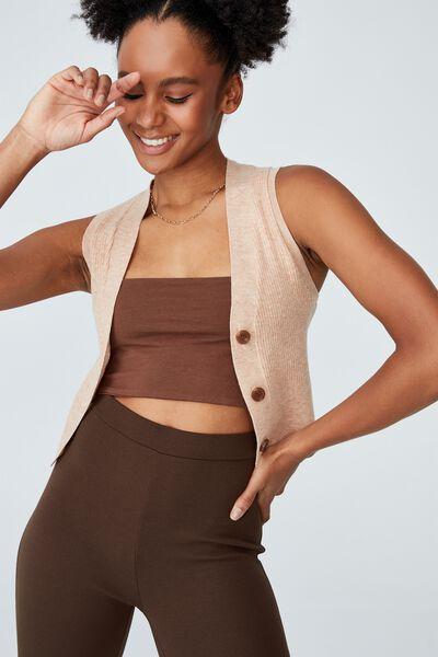 Easy Cropped Button Vest, LEAF BROWN MARLE