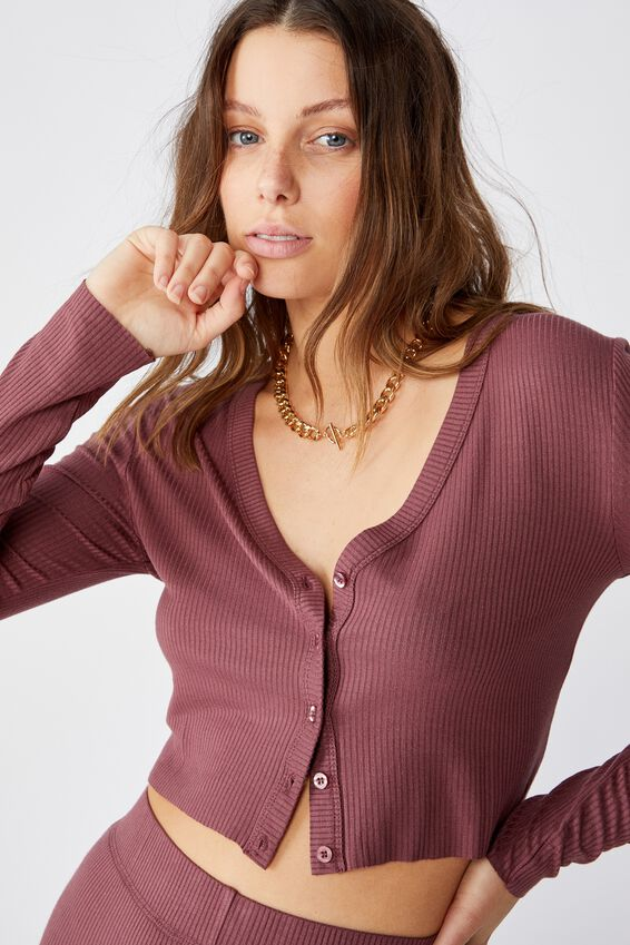 Piper Button Through Cropped Cardigan, DUSTY PLUM