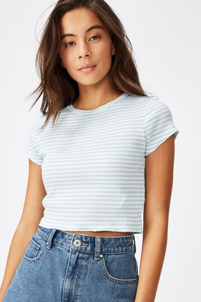The Baby Sister Pointelle Tee, SOPHIE STRIPE CLOUD BLUE/WHITE