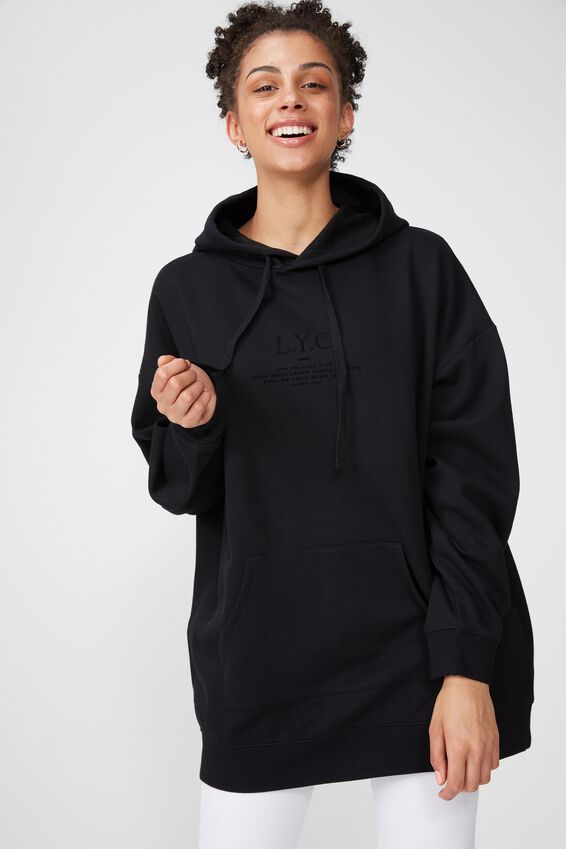 Clover Longline Graphic Hoodie, LOVE YOURSELF/BLACK