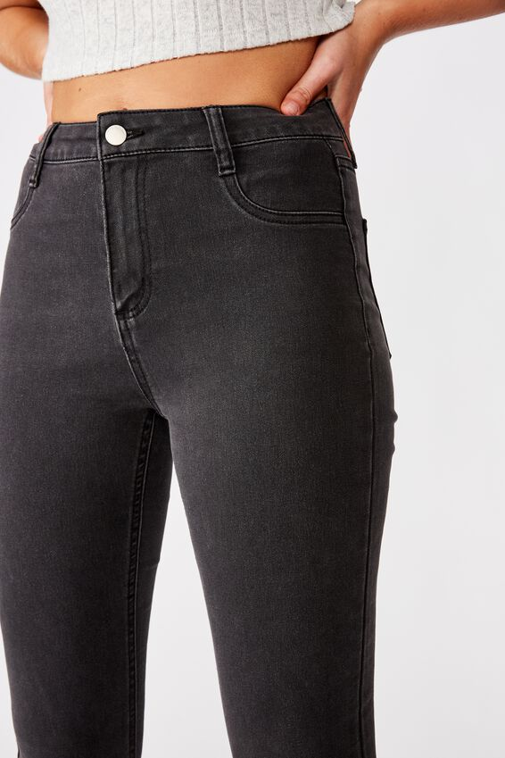 Mid Rise Super Stretch Jean, WASHED BLACK