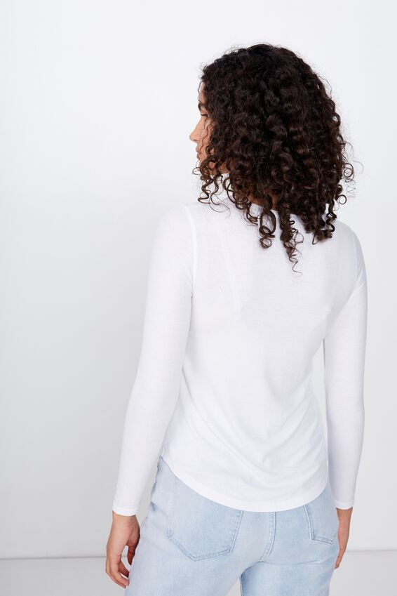 A Girlfriend Long Sleeve Top, WHITE