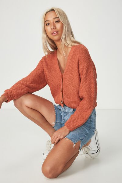 Cropped Button Up Cardi, ARABIAN SPICE