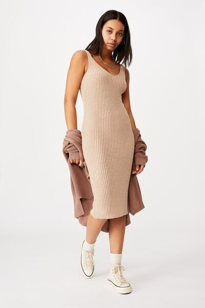 Match Me Knit Midi Dress, LATTE