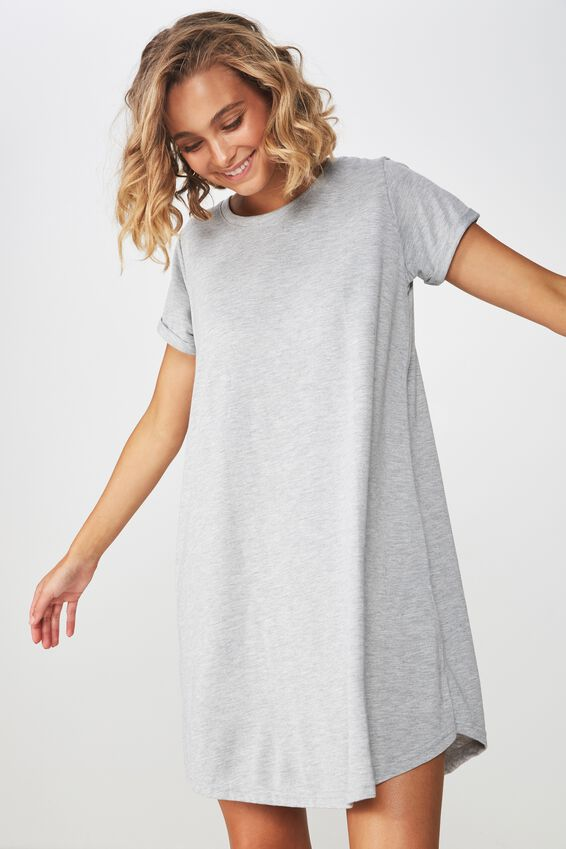 Tina Tshirt Dress 2, GREY MARLE