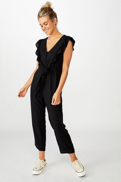 Woven Freddie Ruffle Jumpsuit, BLACK
