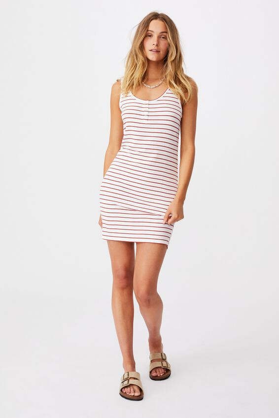Coco Henley Tank Mini Dress, WHITE/RED CLAY STRIPE