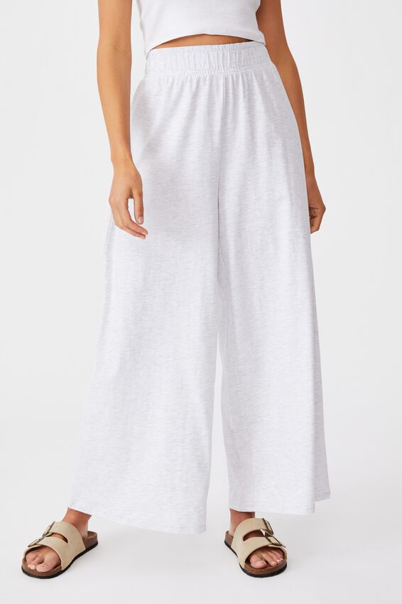 Wide Leg Lounge Track Pant, SILVER MARLE