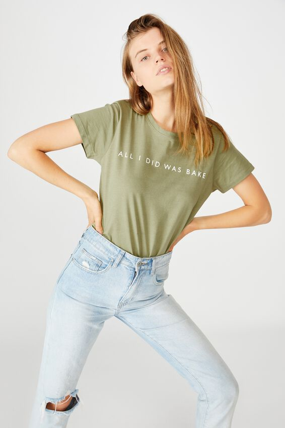 The One Personalised Crew Tee, OIL GREEN