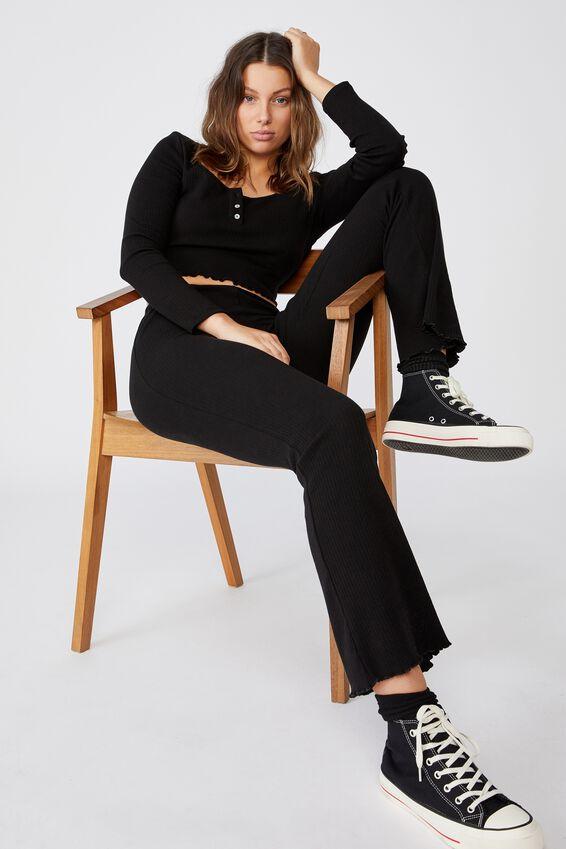 Bella Henley Long Sleeve Top, BLACK