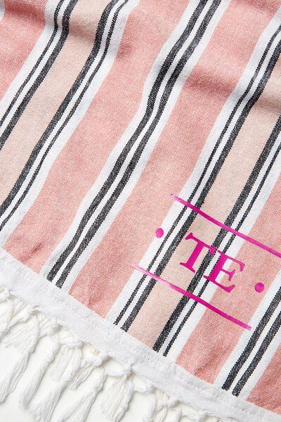 Tolve Round Beach Blanket, BLUSH & STRIPES