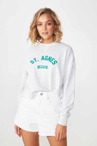 The Whitney Waffle Graphic Long Sleeve Pullover, ST AGNES/SILVER MARLE