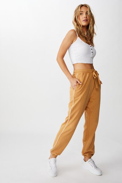 High Waisted Trackpant, APPLE CINNAMON/WHITE PIPING