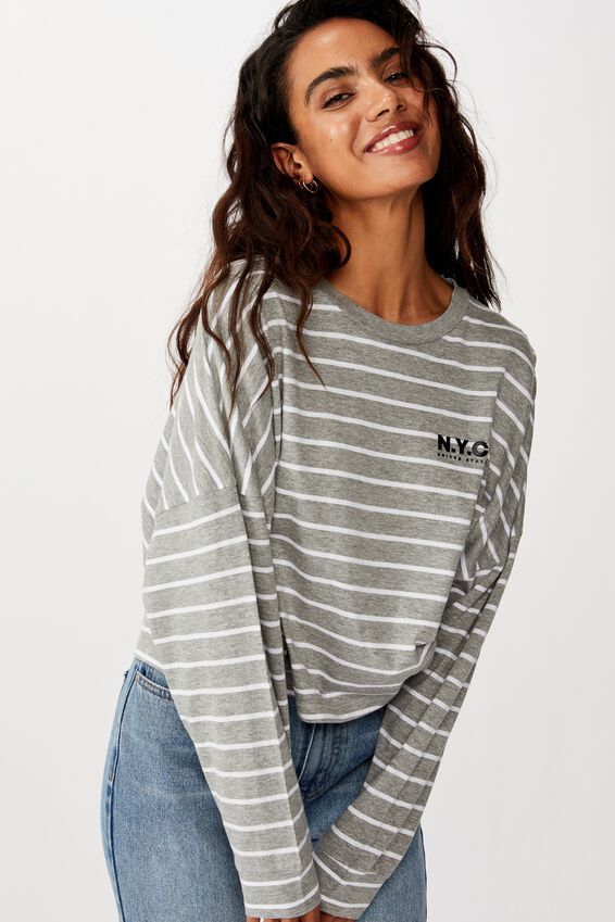 Tbar Brianna Graphic Long Sleeve, NYC WHITE/GREY MARLE STRIPE
