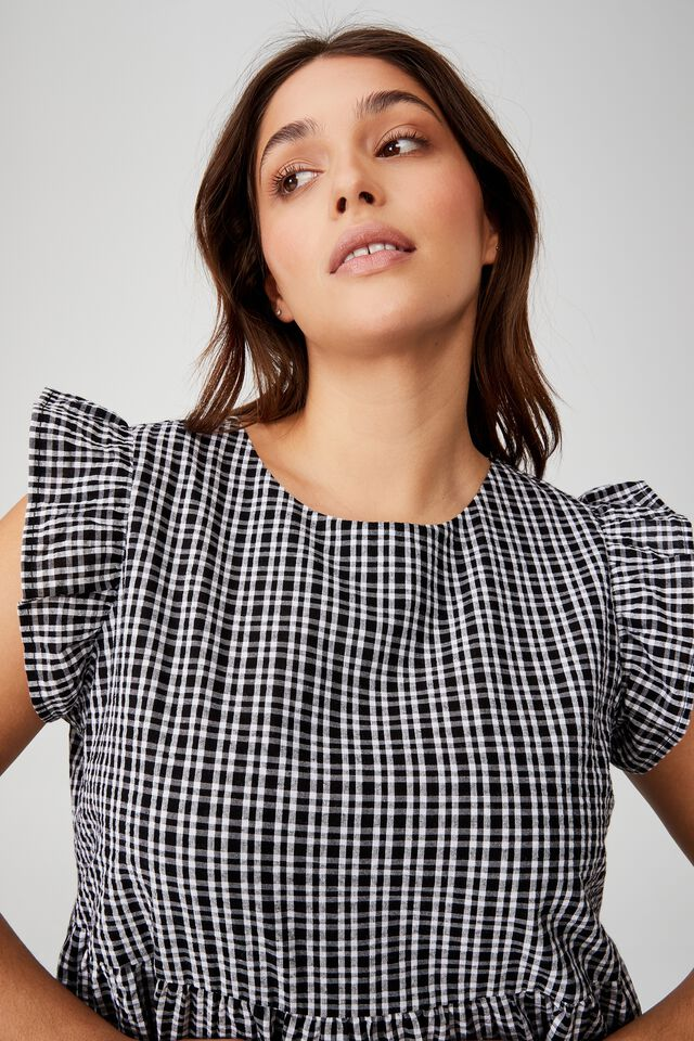 Curve Frill Sleeve Mini Dress, DOLLY MICRO CHECK BLACK